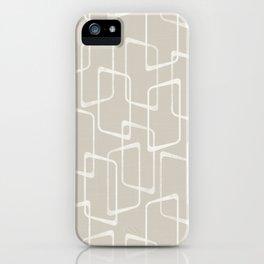 Beige / Light Warm Gray Retro Geometric Pattern iPhone Case
