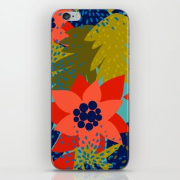 Colorful hand painted abstract brushstrokes floral pattern iPhone Skin