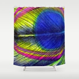 Violet Fringed with Golden Amber Shower Curtain