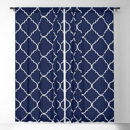 Navy Blue Moroccan Minimal Blackout Curtain