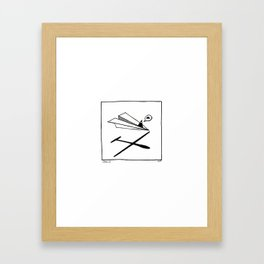 Ninja flies a Paper Plane Framed Art Print