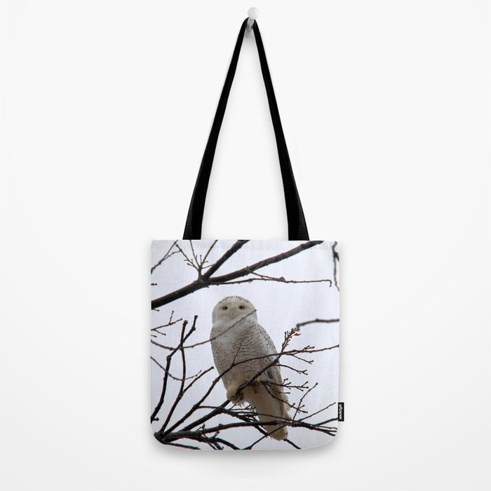 Snowy Owl in the Treetop Tote Bag