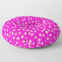 Modern rose gold glitter polka dots neon pink attern Floor Pillow