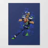 seahawks Canvas Prints featuring Russell Wilson QB 3 Seattle Seahawks by Akyanyme