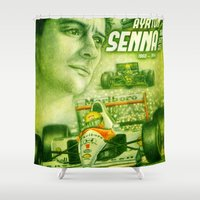 senna Shower Curtains featuring Ayrton Senna Tribute by TheToonPlanet