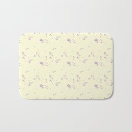floral pattern violet roses on vanilla background Bath Mat