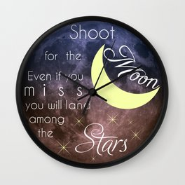 Motivational Les Brown Shoot for the Moon Wall Clock
