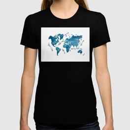 World Map blue T-shirt