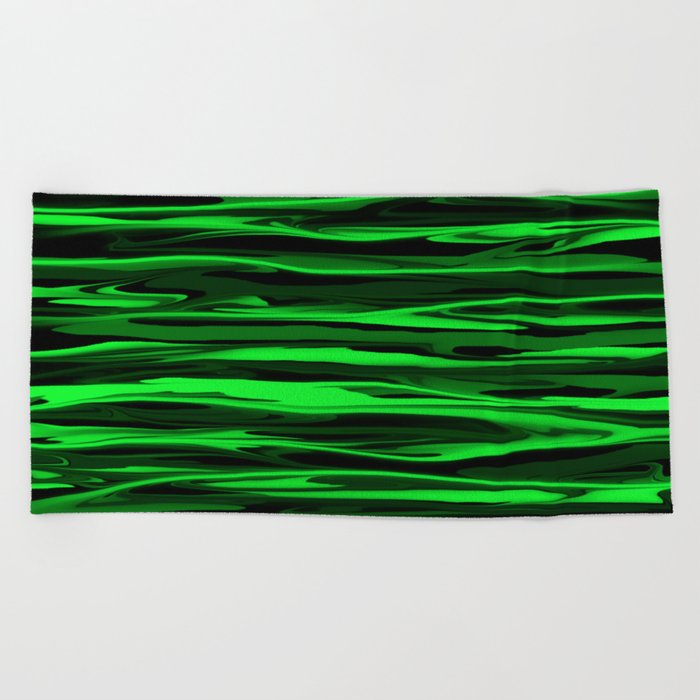 Lime Green and Black Stripes Beach Towel