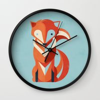 fox Wall Clocks featuring Fox by Jay Fleck