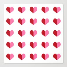 Hearts pink and red minimal cute gifts for valentines day heart pattern for love Canvas Print