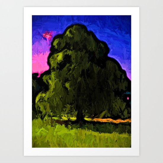 Green Tree with a Pink and Blue Sky Art Print