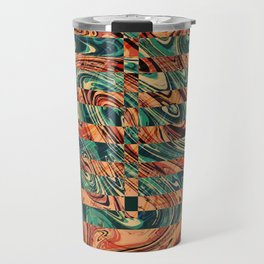 Geometric Abstract Painting - Fluid Painting - Brown, Red, Orange, Blue Abstract - Marbling Art Travel Mug