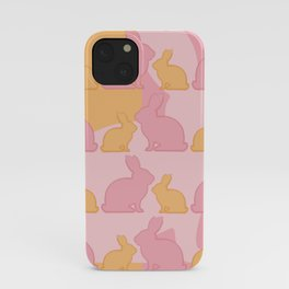 Hunny Bunny - Pastel Pink Yellow Rabbits Design iPhone Case