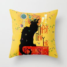Chat Noir New Years Party Countdown Throw Pillow
