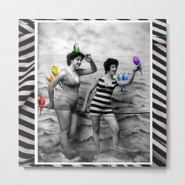 My Rainbow Budgerigars Metal Print