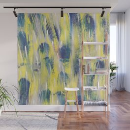 Souls, abstract yellow and blue Wall Mural