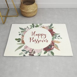 Happy Passover Floral Jewish Pesach Holiday Art Rug