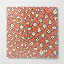 Rust & Grey Modern Art Abstract cream  Pattern Metal Print