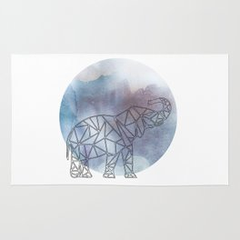 Geometric Elephant In Thin Stipes On Circle Background Rug