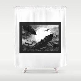BAT - BLACK AND WHITE + halloween Shower Curtain