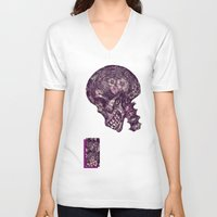 gothic V-neck T-shirts featuring Gothic Skull by AKIKO