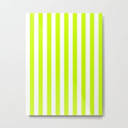 Narrow Vertical Stripes - White and Fluorescent Yellow Metal Print