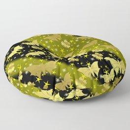 golden butterflies, small asian flowers on black background Floor Pillow