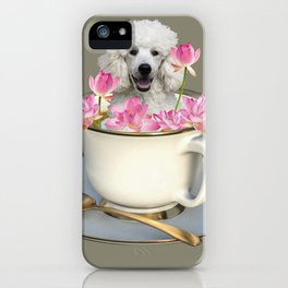 Coffee Cup with Poodle and Lotus Flowers iPhone Case