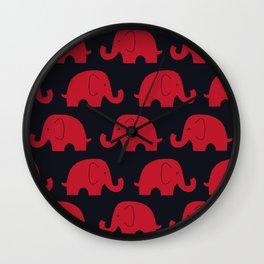 Elephants Red Wall Clock