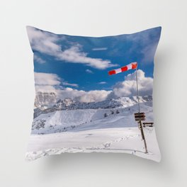 Windsock in the alps Throw Pillow