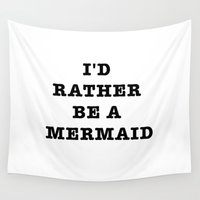 mermaid Wall Tapestries featuring MERMAID by Trend