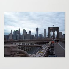 Brooklyn Bridge, View of New York City, Structural Architecture Canvas Print