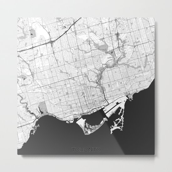 Toronto Map Gray Metal Print