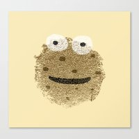 cookie monster Canvas Prints featuring Cookie Monster by Sarinya  Withaya