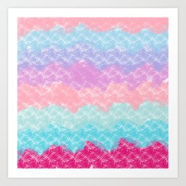 Abstract modern pink teal lilac watercolor waves Art Print