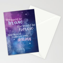 The Lunar Chronicles - She Would Be Brave quote Stationery Cards