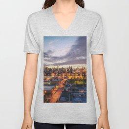 New York City Skyline - Evening Unisex V-Neck