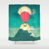 sun and moon Shower Curtains featuring Sun, Moon & Balloon by Milli-Jane