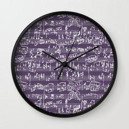 Hand Written Sheet Music // Honey Flower Wall Clock