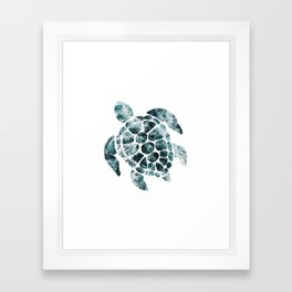 Sea Turtle - Turquoise Ocean Waves Framed Art Print