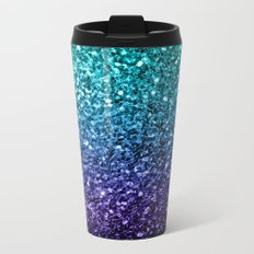 Beautiful Aqua blue Ombre glitter sparkles Metal Travel Mug