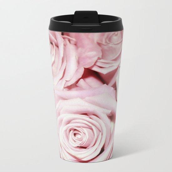 Beautiful bed of pink roses- Floral Rose Flowers Metal Travel Mug