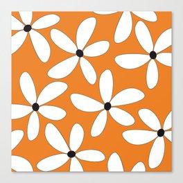 Happy Flowers Orange Canvas Print