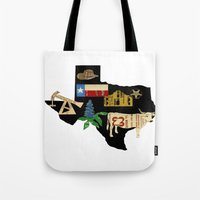 texas Tote Bags featuring Texas by Colorfly Studio