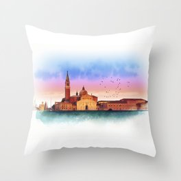 Soft watercolor sunset with views of San Giorgio island, Venice, Italy. Throw Pillow