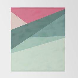 Modern abstract pastel pink green geometrical colorblock Throw Blanket