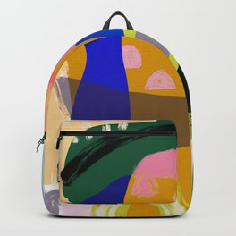 Shapes and Layers no.20 - Abstract painting olive green blue orange black Backpack
