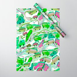 Green Cars All Over Wrapping Paper