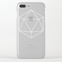 Icosahedron Pattern Bright Blue Clear iPhone Case